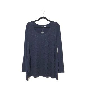 VERVE AMI Long Sleeve Navy Lace Overlay Size L